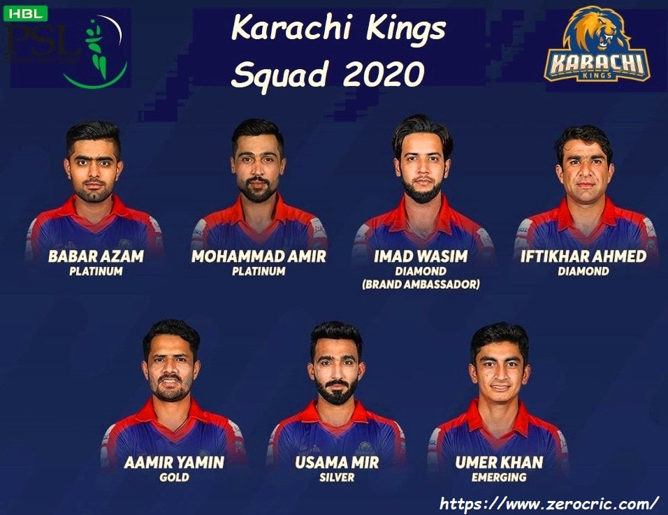 Karachi Kings Squad 2020 | PSL 5 Players list Kings