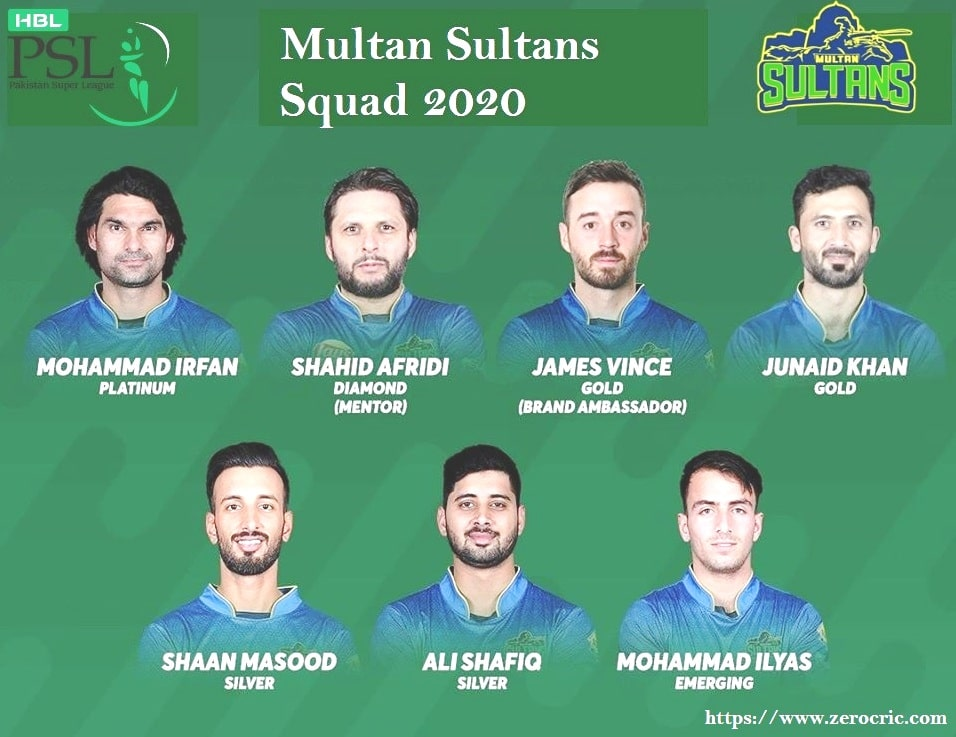 Multan Sultans Squad 2020 | PSL 5 Players List Sultans